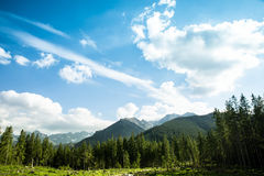 Mountain landscape  with blue sky and clouds. Stock Photos