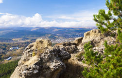 Mountain landscape with the blue sky and clouds. Summer landscape in mountains and the dark blue sky with clouds, top view Stock Photos