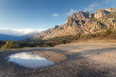 Mountain landscape with blue sky reflection in puddle at sunset Royalty Free Stock Images