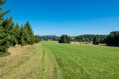 Mountain landscape with blue sky. Summery hiking in Novohradske mountains, Czech Republic, Europe stock images