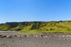 Mountain landscape with blue sky at Vik, Iceland Royalty Free Stock Photo