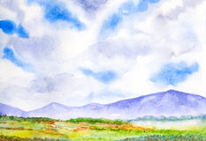 Mountain landscape with blue sky watercolor painted Royalty Free Stock Photography