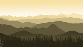 Mountain landscape in brown colors at the morning. Royalty Free Stock Image