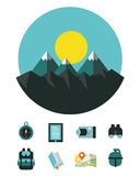Mountain landscape with Camping and hiking equipment icons. Stock Photography