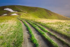 Mountain landscape of Carpathian Gorgany, Ukraine. Mountain landscape with hiking trail and view of beautiful ridge, Carpathian mounts, Gorgany, Ukraine Stock Photography
