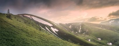 The mountain landscape of Carpathian Gorgany, Ukraine. Mountain landscape with hiking trail and view of beautiful ridge, Carpathian mounts, Gorgany, Ukraine royalty free stock photos