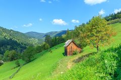 Mountain landscape in the Carpathians, Verkhovyna royalty free stock photo