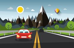 Mountain Landscape with Cars on Highway Road Cartoon. Mountain Landscape with Cars on Highway Road Vector Cartoon vector illustration