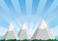 Mountain landscape cartoon illustration, low poly background Royalty Free Stock Photography