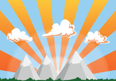 Mountain landscape cartoon illustration - sunset sky and clouds Stock Photo