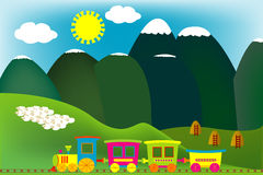 Mountain landscape with cartoon train. And flock of sheeps Royalty Free Stock Photos