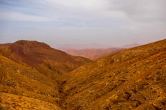 Mountain landscape at the central part of Fuerteventura island Royalty Free Stock Image