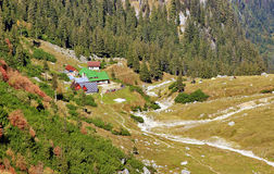 Mountain Landscape with Chalet in Romania Royalty Free Stock Image