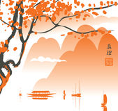 Mountain landscape in the Chinese or Japanese Stock Images