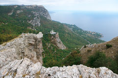 Mountain landscape with Church. On rock. Crimea Royalty Free Stock Image
