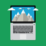 Mountain landscape with clouds and aircraft Royalty Free Stock Photography