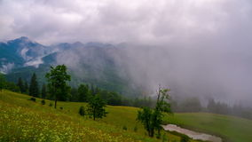 Mountain Landscape with Clouds and Fog. stock footage