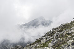 Mountain landscape on a cloudy day with rain clouds. Tatra Mountains. Stock Image