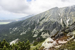 Mountain landscape on a cloudy day with rain clouds. Tatra Mountains. Royalty Free Stock Image