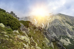 Mountain landscape on a cloudy day with rain clouds. Tatra Mountains. Royalty Free Stock Photo