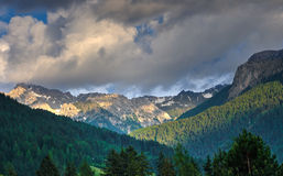 Mountain landscape with cloudy sky, Dolomites, Italy Royalty Free Stock Images