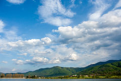 Mountain landscape with cloudy sky. Mountain landscape near lake with blue sky with clouds Royalty Free Stock Image
