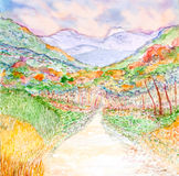 Mountain landscape with colorful forest watercolor painted. Mountain landscape with colorful forest watercolor on paper Royalty Free Stock Photography