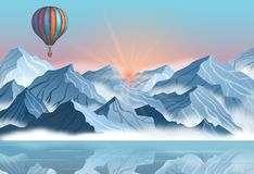 Mountain landscape with colorful hot air balloon in realistic 3d style. Banner with blue winter cliffs, fog, water. Mountain landscape with colorful hot air Stock Photo