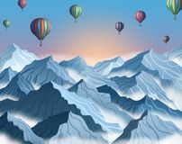 Mountain landscape with colorful hot air balloons in realistic 3d style. Blue winter cliffs with fog. Mountain landscape with colorful hot air balloons in Stock Images