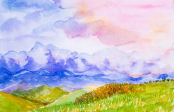 Mountain landscape with colorful sky watercolor painted Royalty Free Stock Photo