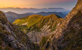 Mountain Landscape at Colourful Sunset Royalty Free Stock Photo