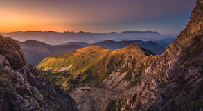 Mountain Landscape at Colourful Sunset. Mountain Landscape in Colourful Sunset. View from Mount Dumbier in Low Tatras, Slovakia. West and High Tatras Mountains Stock Photos