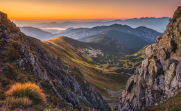 Mountain Landscape at Colourful Sunset Royalty Free Stock Images