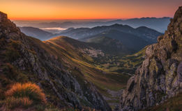 Mountain Landscape at Colourful Sunset. Mountain Landscape in Colourful Sunset. View from Mount Dumbier in Low Tatras, Slovakia. West Tatras Mountains in Stock Images