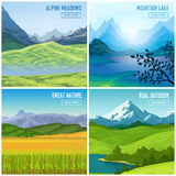 Mountain Landscape Compositions Set. Nature landscape concept with four square outdoor compositions of mountains drawn images and read more button vector Stock Photos