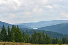 Mountain landscape with coniferous forests and the end of belis lake. Royalty Free Stock Photography