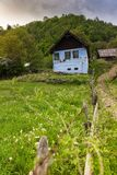 Mountain landscape cottage. Old barn scene in the mountains of Transylvania Stock Images