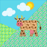 Mountain landscape with cow, patchy look. Mountain landscape with spotted cow, patchy look, fun Stock Photos