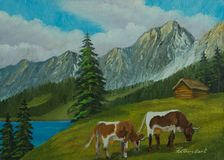 Mountain landscape with cows on a green meadow stock illustration