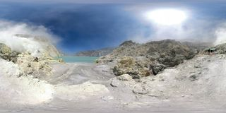 Mountain landscape with crater lake vr360 royalty free stock image