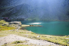 Mountain landscape with deep lake, high altitude Royalty Free Stock Image