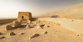 Mountain landscape in the desert with a fortress, UAE royalty free stock photography