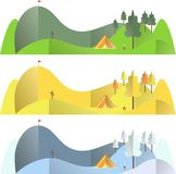 Mountain landscape in different seasons, autumn, summer, winter, travel conception. Flat design vector illustration Royalty Free Stock Image