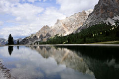 Mountain landscape in Dolomites. Mountain lake in Dolomite Alps in Cortina, Italy Stock Photography