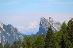 Mountain landscape of the Dolomites in the Val Pusteria, Dolomites, Italy stock photo