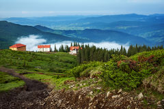 Mountain landscape in Dragobrat the Carpathians. Mountain landscape in Dragobrat the Carpathian Mountains , clouds, coniferous forest, sky Stock Photos