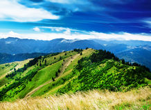 Mountain Landscape with Dramatic Sky and Hills Royalty Free Stock Photos