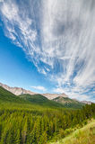 Mountain Landscape. Dramatic sky over top of a forested mountain landscape Stock Photo