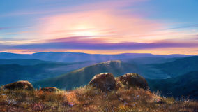 Mountain landscape. Drawing mountain landscape at sunset Stock Photography