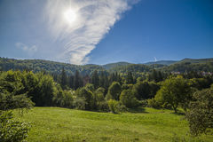 Mountain landscape in the early morning sky with clouds Royalty Free Stock Images